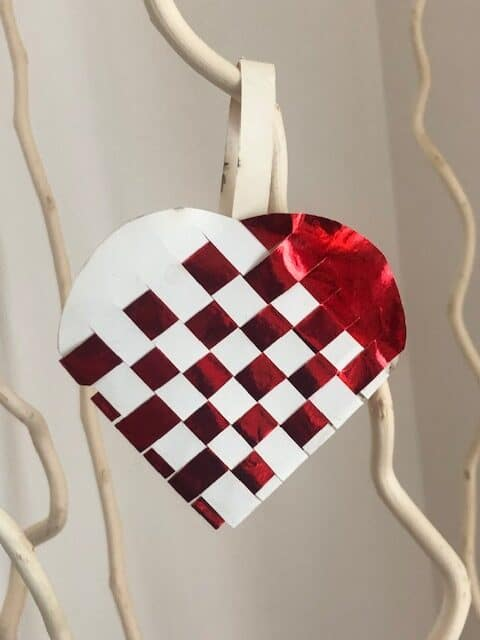 Red & white woven heart