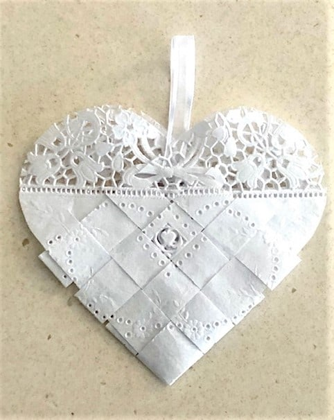 White Lace Paper Napkin Woven Heart