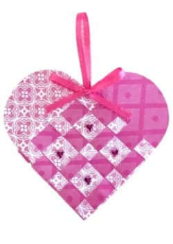 Pink and white woven heart with pink ribbon hanger & bow