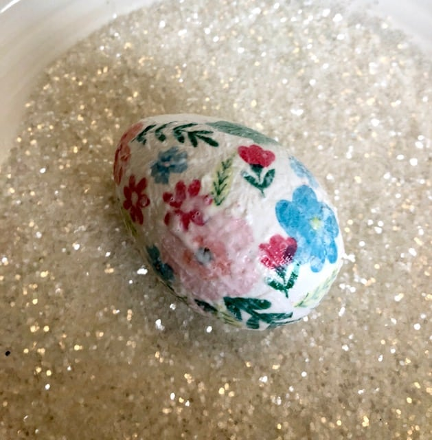 Egg dipped in clear crystal glitter