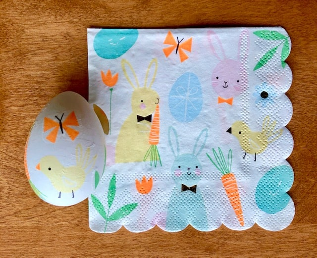 Easter bunny and chick napkin with finished egg