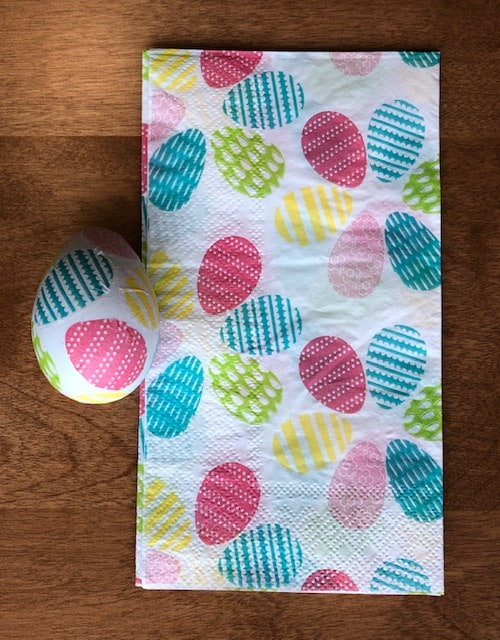Easter egg print napkin with finished egg