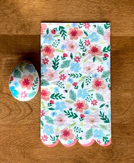 Floral print napkin with finished egg