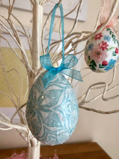 Finished blue and white Easter egg
