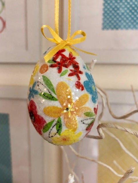 Finished floral decorated Easter egg