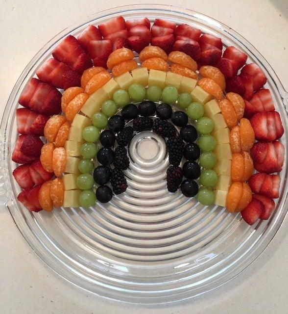 Fresh fruit made into a rainbow