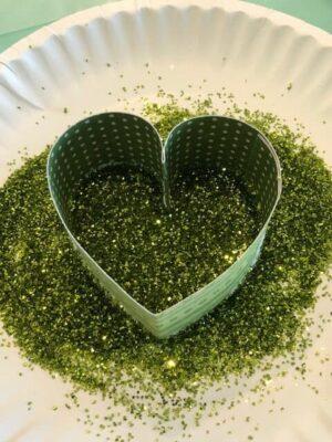 Shamrock petal dipped in green glitter