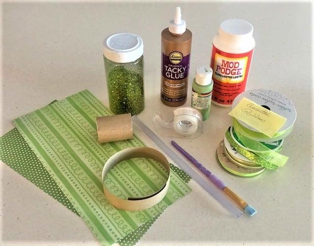 Shamrock Supplies, Scrapbook Paper, Glue, Glitter, Ribbon, Green AcylicPaint
