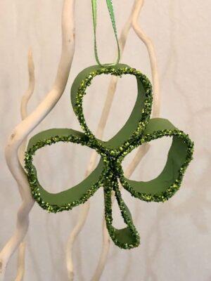 Small Green Shamrock With Green Glitter