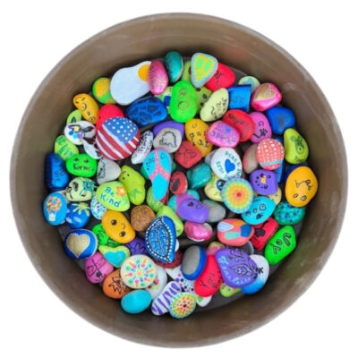 Pile of colorful painted rocks